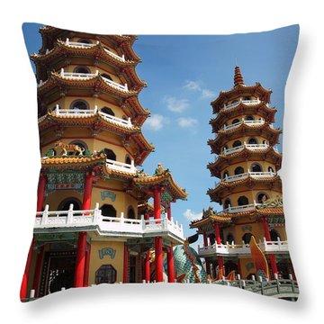 Dragon And Tiger Pagodas In Taiwan Throw Pillow by Yali Shi