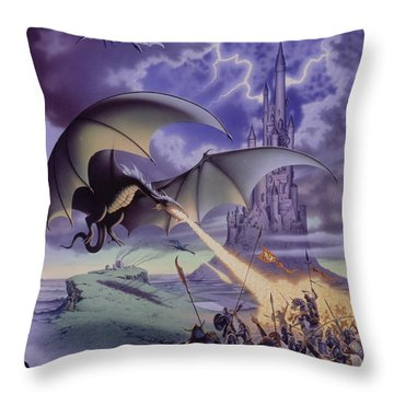 Dragon Combat Throw Pillow by The Dragon Chronicles - Steve Re