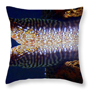 Dragon Moray Eels Throw Pillow by Pravine Chester