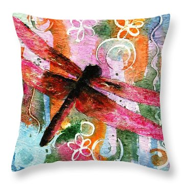 Dragonfly Fairy I Throw Pillow by Miriam Schulman