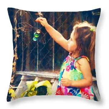 Dragonfly Girl Throw Pillow