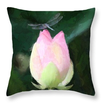 Throw Pillow featuring the photograph Dragonfly On Water Lily by Donna  Smith