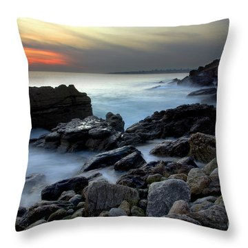 Dramatic Coastline Throw Pillow by Carlos Caetano