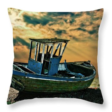Dramatic Dungeness Throw Pillow by Meirion Matthias