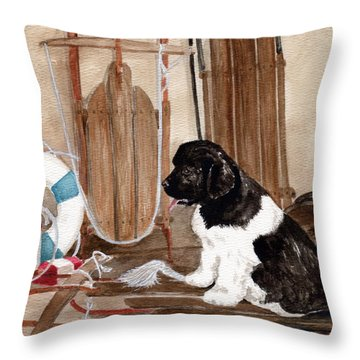 Throw Pillow featuring the painting Dreaming Of Winter  by Nancy Patterson