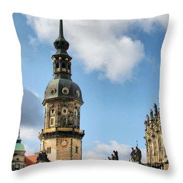 Dresden Hausmannsturm - Housemann Tower Throw Pillow by Christine Till