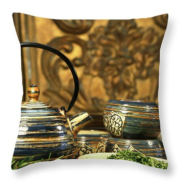 Dries Herb Leaves  Throw Pillow by Sandra Cunningham