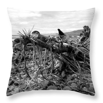 Driftwood And Rocks Throw Pillow by Chriss Pagani