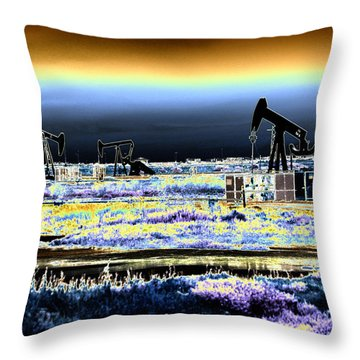 Drilling For Black Gold Throw Pillow by Diana Haronis
