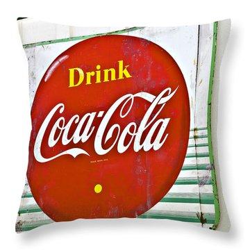 Drink Coca Cola Throw Pillow by Susan Leggett