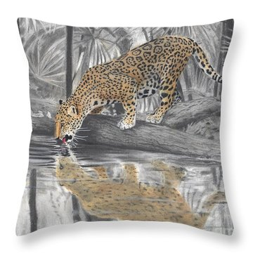 Drinking Jaguar Throw Pillow