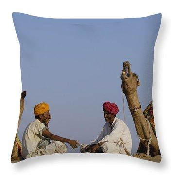 Dromedary Camelus Dromedaries Pair Throw Pillow by Pete Oxford
