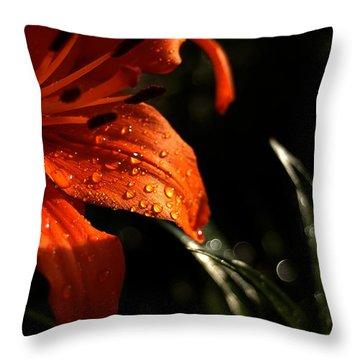 Droplets On Flower Throw Pillow by Vilas Malankar