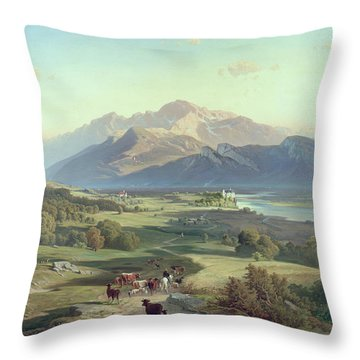 Drover On Horseback With His Cattle In A Mountainous Landscape With Schloss Anif Salzburg And Beyond Throw Pillow by Josef Mayburger