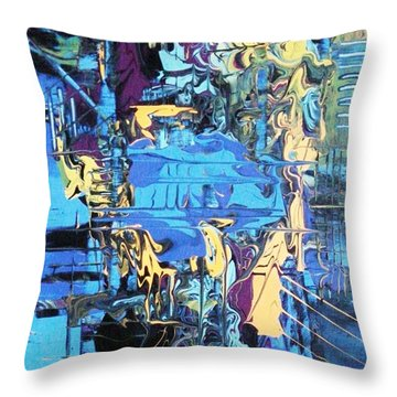 Drowning In The Blues Throw Pillow