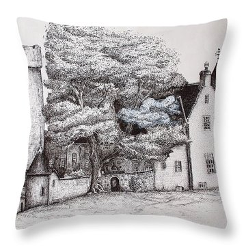 Drum Castle Throw Pillow by Sheep McTavish