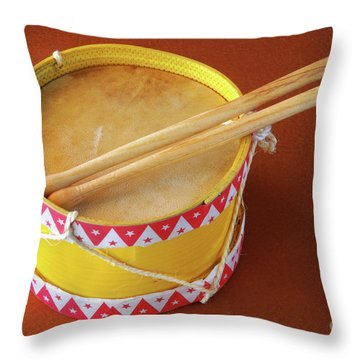 Drum Toy Throw Pillow by Carlos Caetano