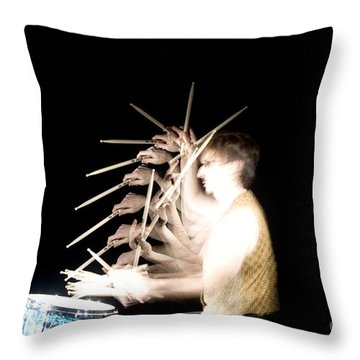 Drummer Throw Pillow by Ted Kinsman