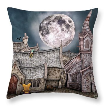 Drunken Village Throw Pillow by Jutta Maria Pusl