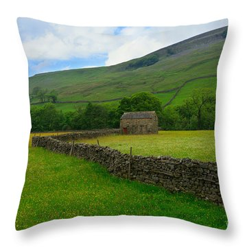 Dry Stone Walls And Stone Barn Throw Pillow by Louise Heusinkveld