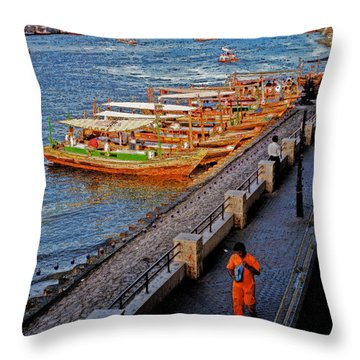 Dubai Water Taxis Throw Pillow by First Star Art