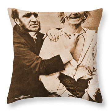 Duchenne Studying Physiognomy Throw Pillow