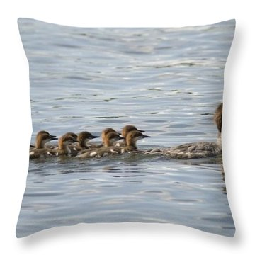 Duck And Ducklings Swimming In A Row Throw Pillow by Keith Levit