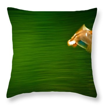Duck In Motion Throw Pillow