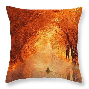 Duck Swimming Down The Walk Throw Pillow