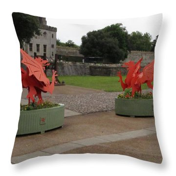 Dueling Dragons Throw Pillow