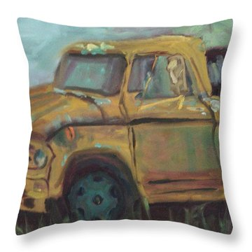 Throw Pillow featuring the painting Dump Truck by Carol Berning