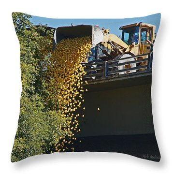 Dumping The Ducks Throw Pillow