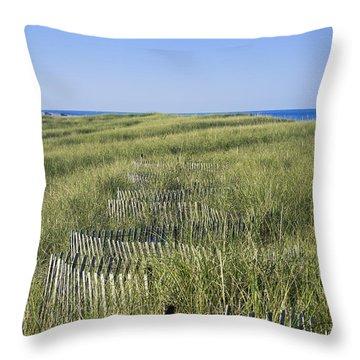 Dune Fence Throw Pillow by John Greim