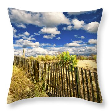 Throw Pillow featuring the photograph Dune Fence Me In by Jim Moore