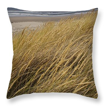 Dune Grass On The Oregon Coast Throw Pillow by Mick Anderson