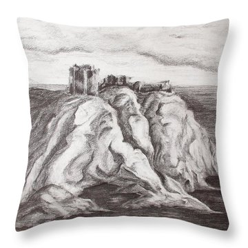 Dunnottar Castle Throw Pillow by Sheep McTavish