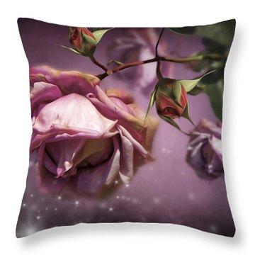 Dusky Pink Roses Throw Pillow by Svetlana Sewell