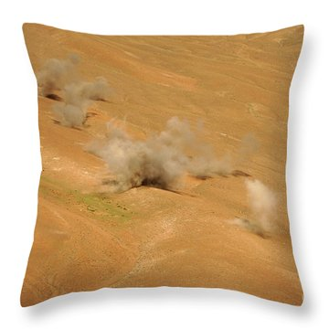 Dust Rises From The Impact Points Of Kp Throw Pillow by Stocktrek Images