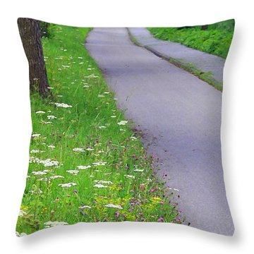 Dutch Bicycle Path - Digital Painting Throw Pillow by Carol Groenen