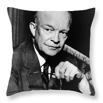 Throw Pillow featuring the photograph Dwight D Eisenhower - President Of The United States Of America by International  Images