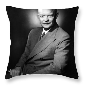 Throw Pillow featuring the photograph Dwight Eisenhower - President Of The United States Of America by International  Images