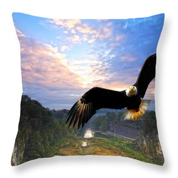 Throw Pillow featuring the photograph Eagle At Paint Creek Dam by Randall Branham