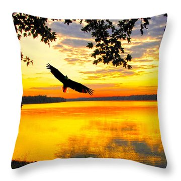 Throw Pillow featuring the photograph Eagle At Sunset by Randall Branham
