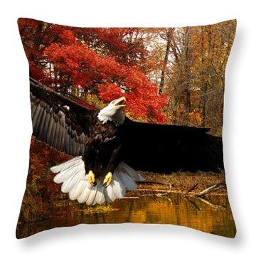 Throw Pillow featuring the photograph Eagle In Autumn Splendor by Randall Branham