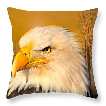 Eagle On Guard Throw Pillow by Marty Koch