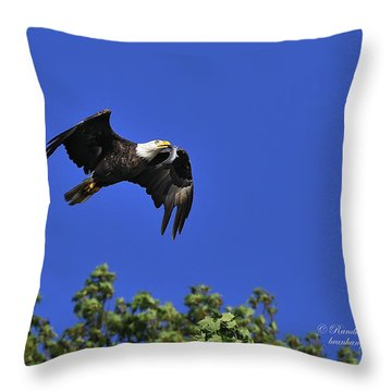Throw Pillow featuring the photograph Eagle Over The Tree Top by Randall Branham