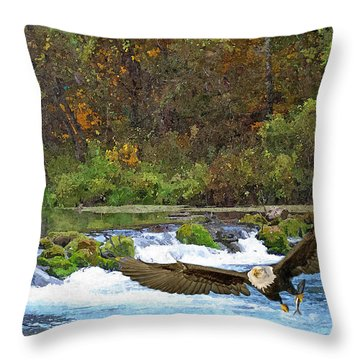 Eagle Snatch Throw Pillow by Julie Grace