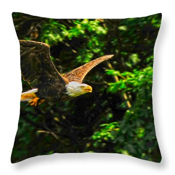 Throw Pillow featuring the photograph Eagle Taking Lunch To Her Babies by Randall Branham