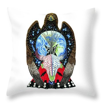 Eagle Tipi Throw Pillow by Tim McCarthy