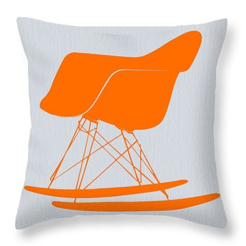 Eames Rocking Chair Orange Throw Pillow
